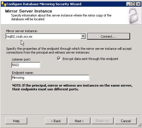 Plataforma de SQL en Espejo con testigo