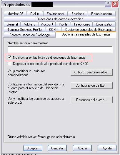Atributo HideExchange